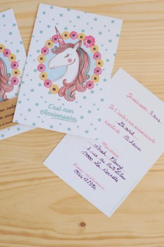 8 cartes d'invitation Licorne