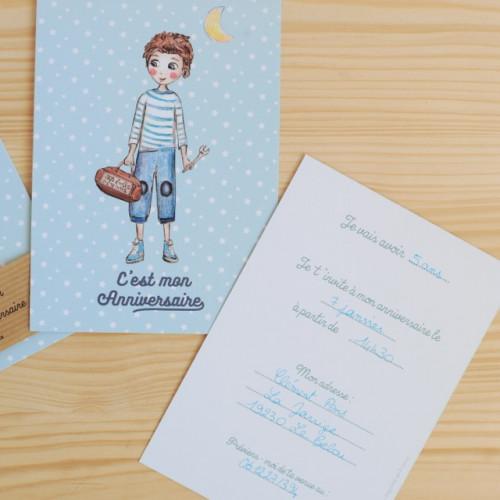 8 cartes d'invitation garçon