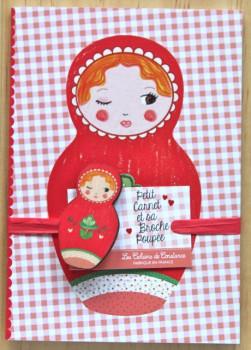 Petit carnet Matriochka rouge et sa broche poupée