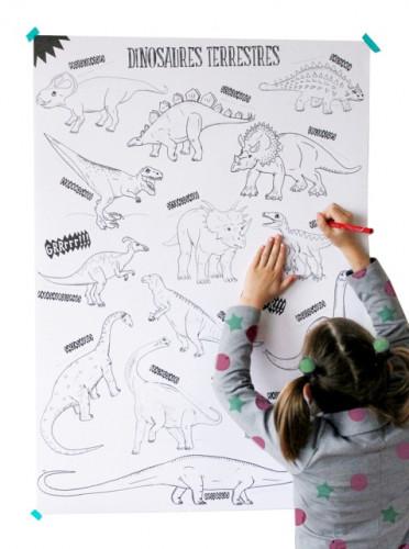 Coloriage géant dinosaures