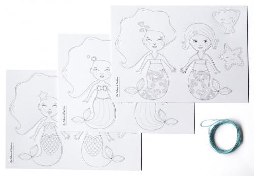 Guirlande à colorier Sirènes