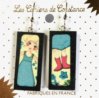 Boucles bois rectangle Zaza