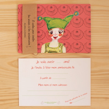 8 invitations Lutin