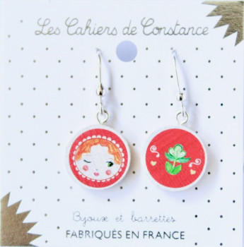 Grandes boucles pendantes Matriochka rouge