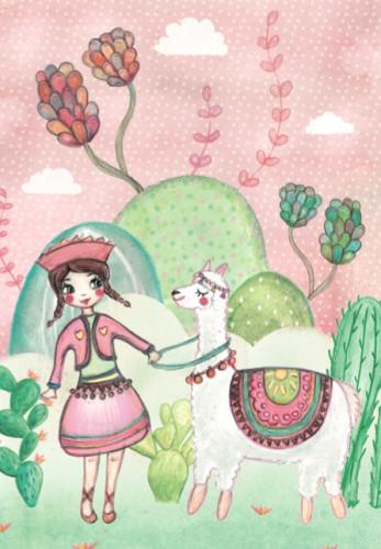 Carte «Ayana et son lama»