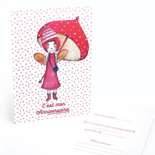 8 cartes d'invitation Fée