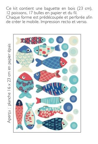 Mobile poissons «bleu rétro»