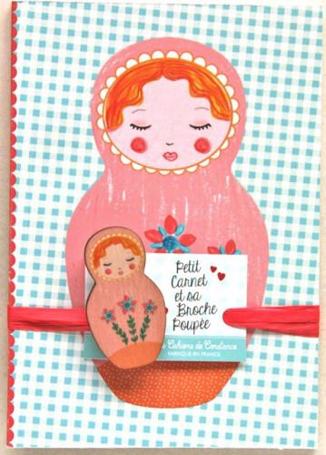 Petit carnet Matriochka orange et sa broche poupée