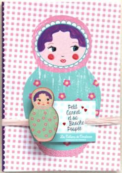 Petit carnet Matriochka mauve et sa broche poupée